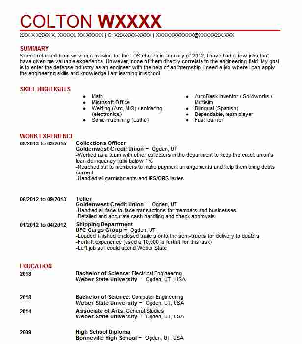 collections officer resume sample