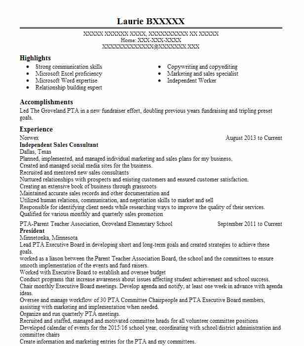 independent sales consultant resume example norwex
