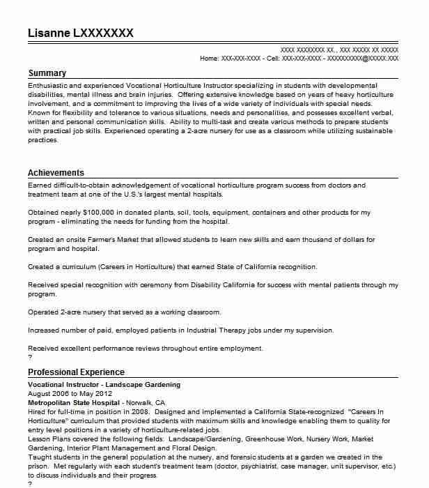 horticulture and landscape design resume sample