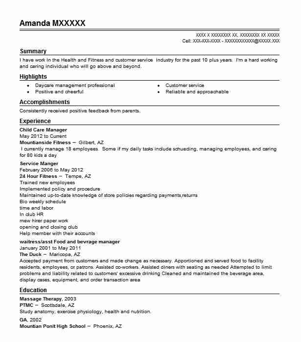 child care manager resume sample