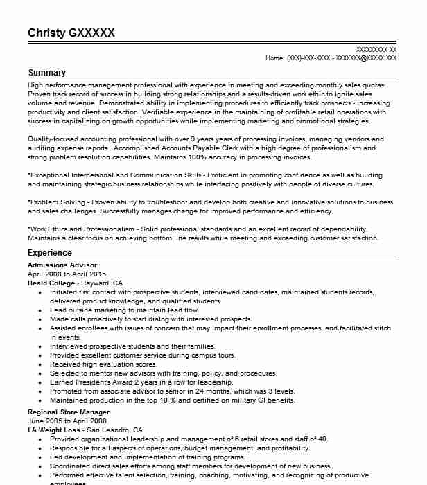 College admissions advisor resume