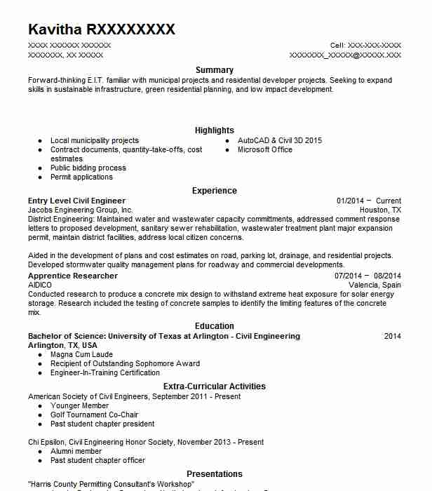 Entry Level Civil Engineer Resume Sample Livecareer