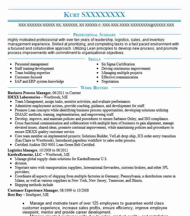 business process manager resume sample manager resumes livecareer