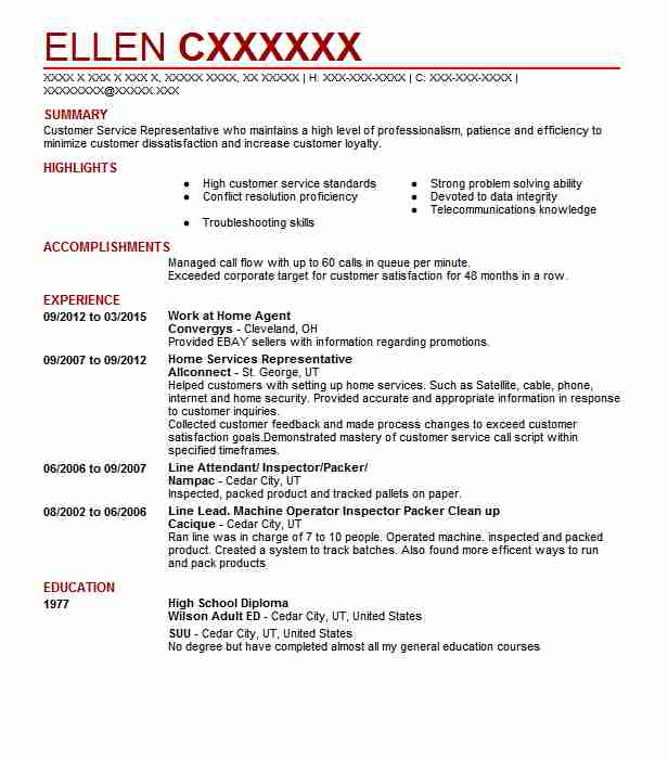 Work At Home Agent Resume Sample Agent Resumes Livecareer