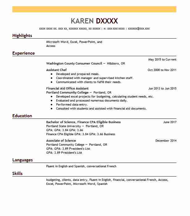 assistant chef resume sample