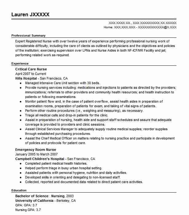 Critical Care Nurse Resume Sample Nursing Resumes