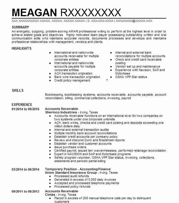 72205 Accounts Payable/Receivable Resume Examples | Accounting And ...