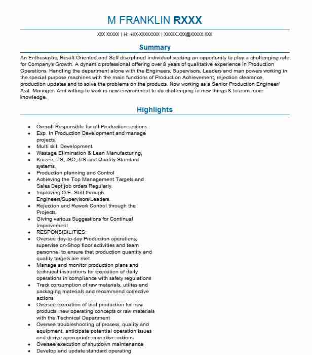 senior production engineer resume example middle east