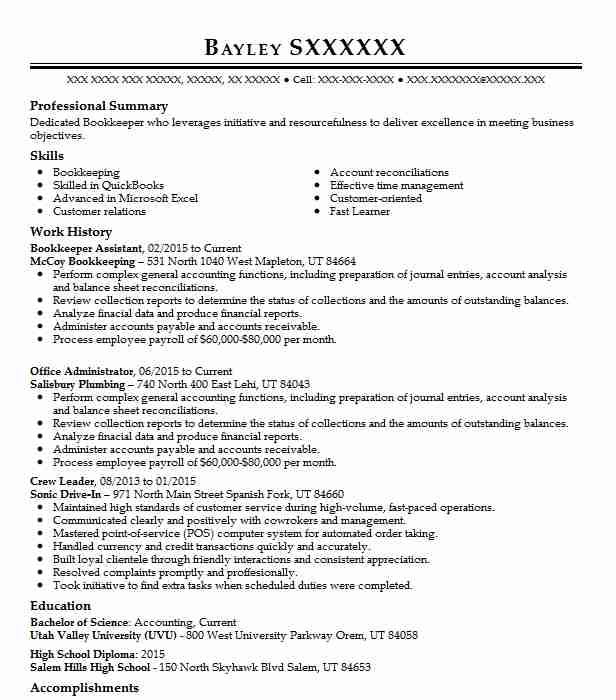 bookkeeper assistant resume sample assistant resumes