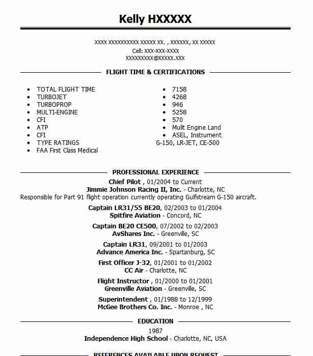 chief pilot and flight base manager resume example