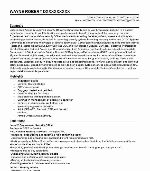 Level 2 Security Officer Resume Example Whelan Security ...