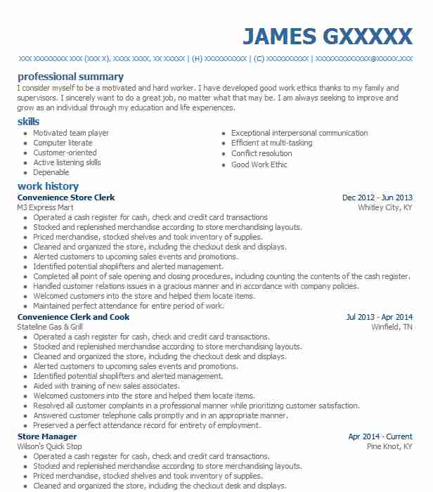 Convenience Store Clerk Resume Sample Clerk Resumes