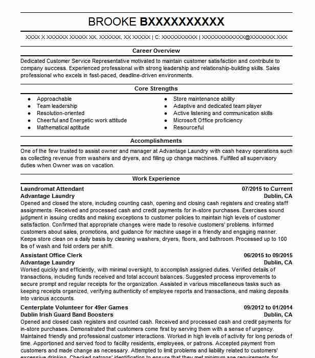 laundromat attendant resume sample