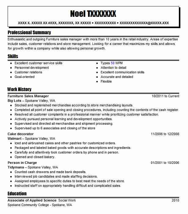 Furniture Sales Manager Resume Sample | Manager Resumes | LiveCareer