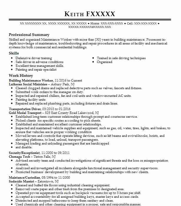 building maintenance worker resume sample