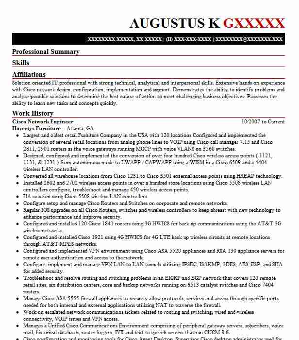 cisco network engineer resume sample