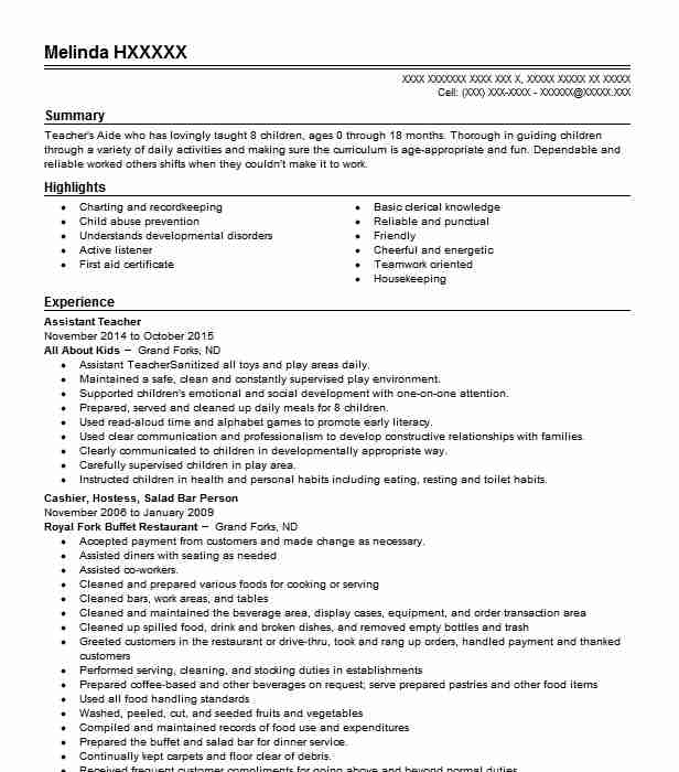 Assistant Teacher Objectives Resume Objective Livecareer