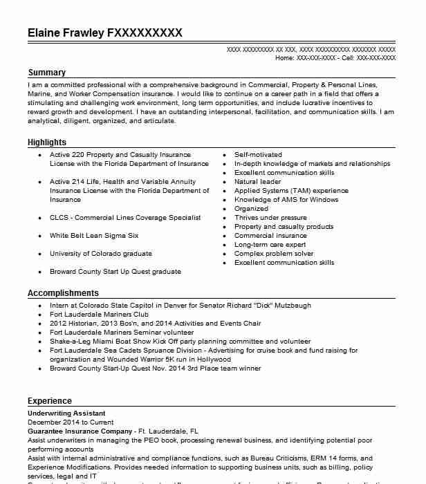 Underwriting Service Assistant Resume Example State Farm