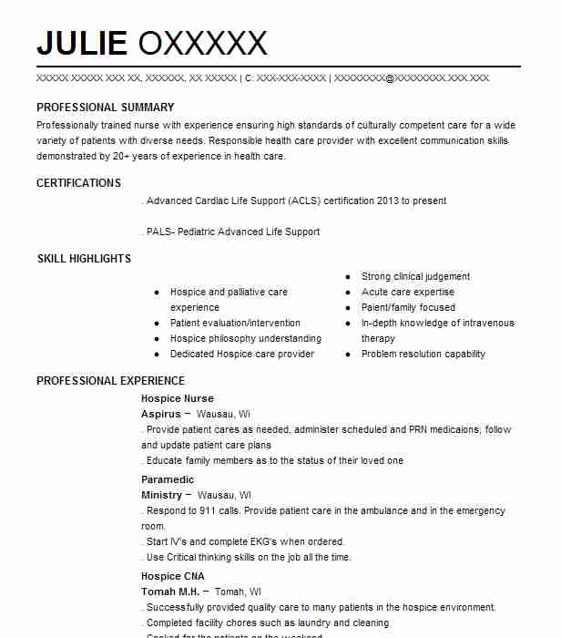 hospice nurse resume sample