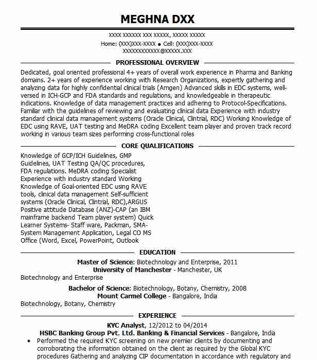 kyc analyst resume sample