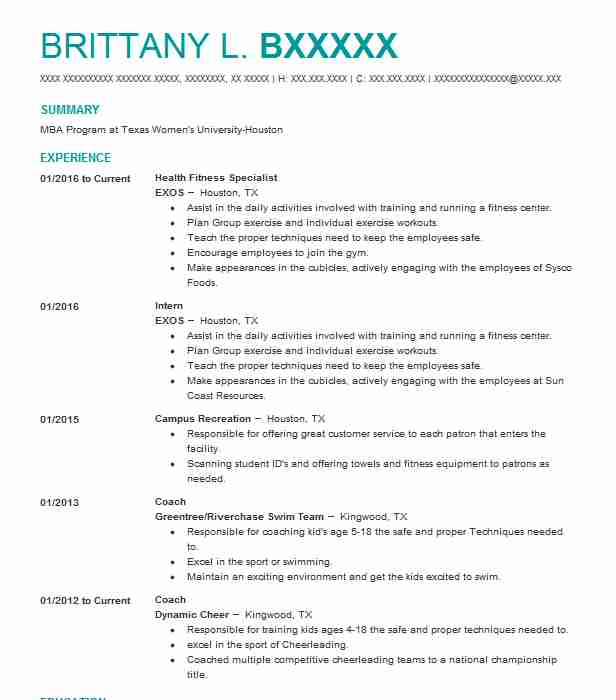 20a24e49e2 Health Fitness Specialist Resume Sample