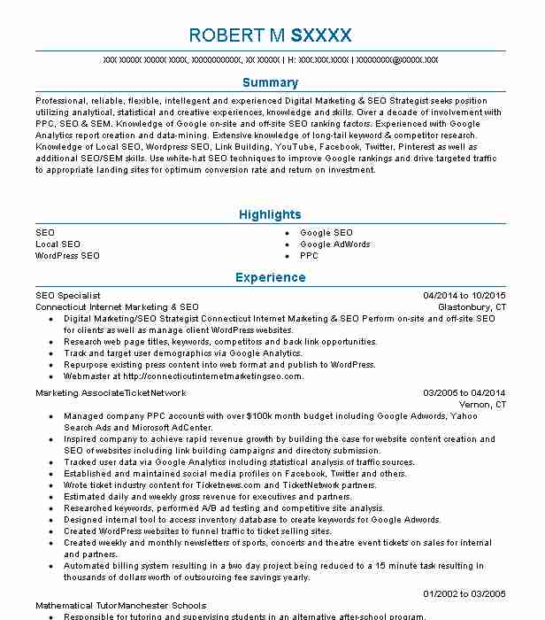 seo specialist resume sample
