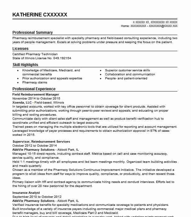 Field Reimbursement Territory Manager Resume Example