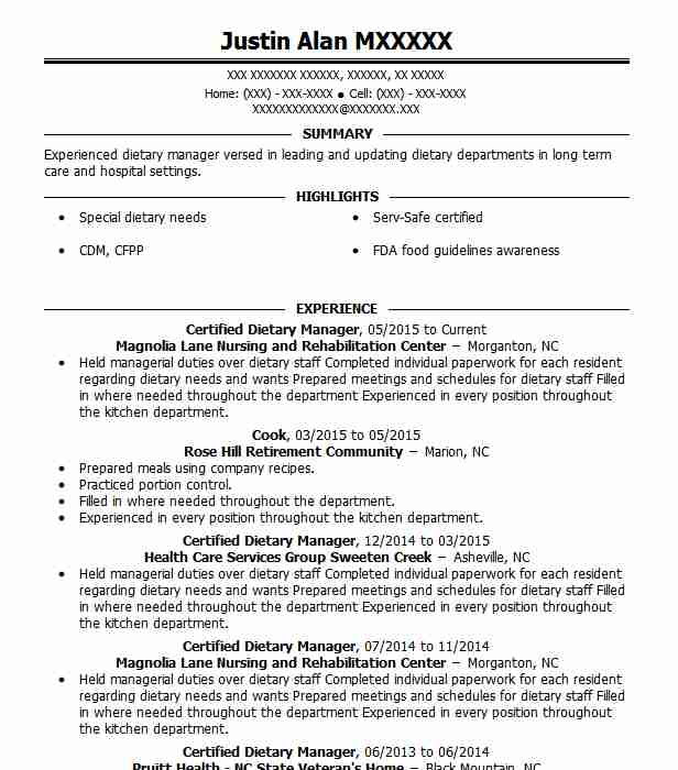 Certified Dietary Manager Resume Sample Manager Resumes Livecareer