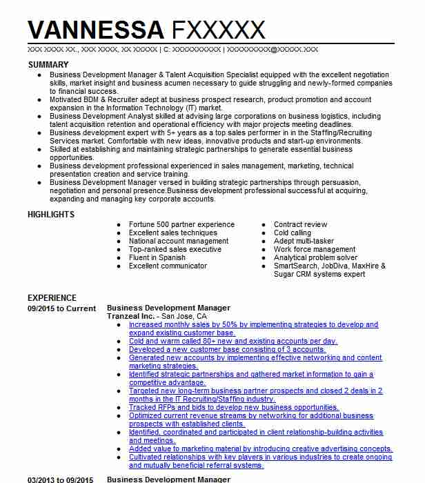 Business Development Manager Resume Example Resumes Misc
