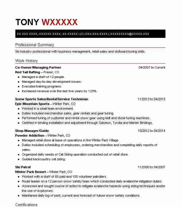 Find Resume Examples in Winter Park, CO   LiveCareer