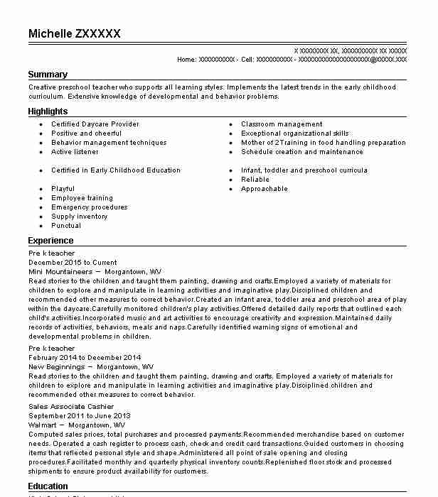 pre k teacher resume sample