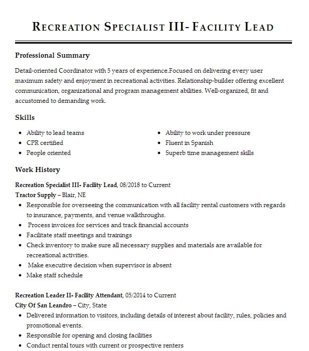 recreation facility manager resume example salt lake county parks  u0026 recreation