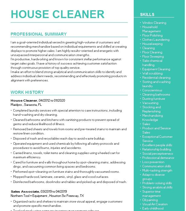 Private House Cleaner Resume Example Jeannette Ira - Galt ...