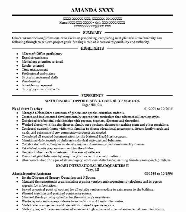 head start teacher resume sample
