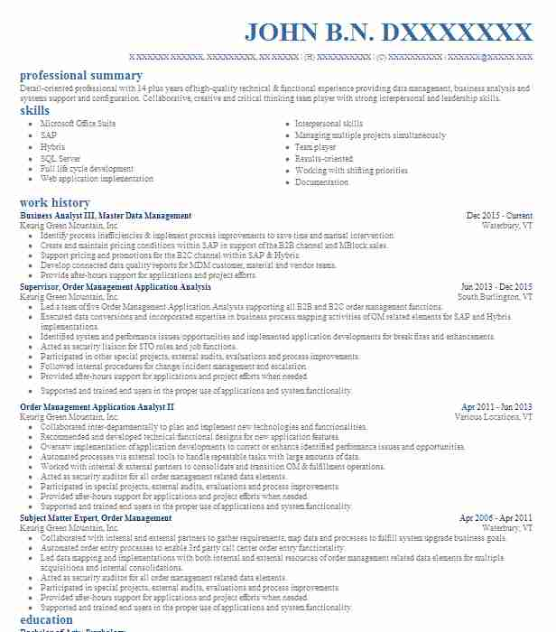 master data management analyst resume example verint