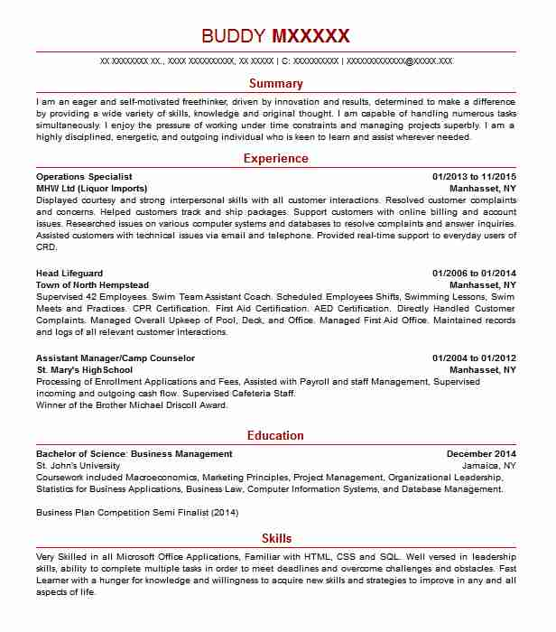 find resume examples in port washington  ny