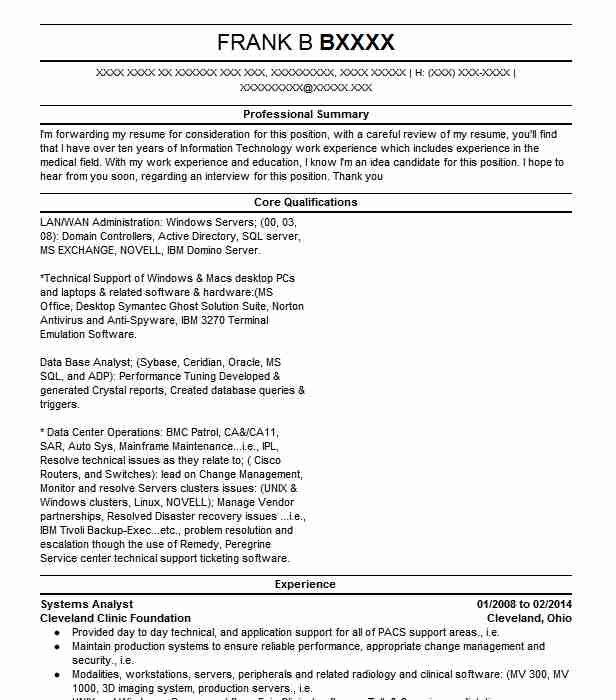 Systems Analyst Resume Sample | Resumes Misc | LiveCareer