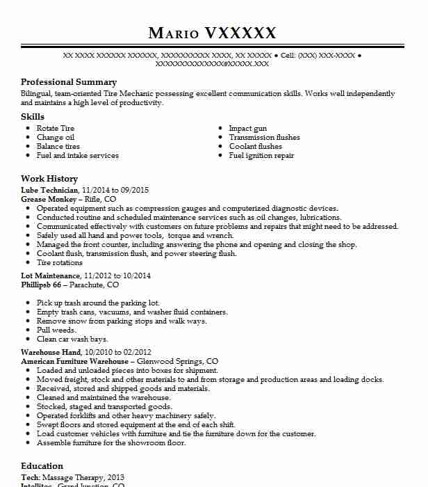 Lube Technician Resume Example Grease Monkey - Parachute ...