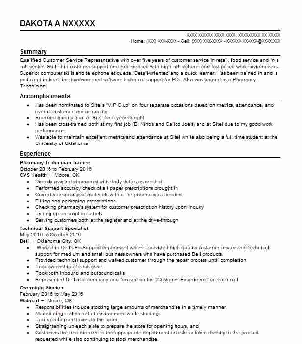 Pharmacy Technician Trainee Resume Sample
