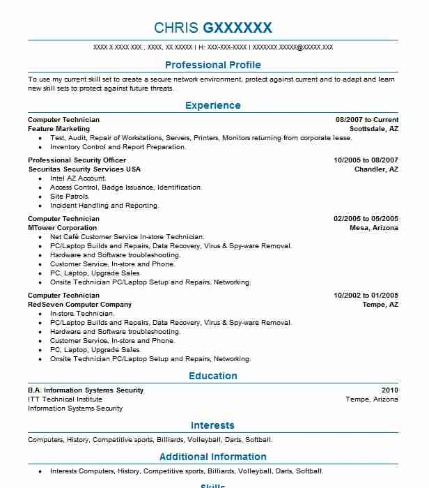 computer technician resume objectives resume sample