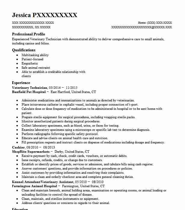 Veterinary Technician Resume Sample Technician Resumes Livecareer