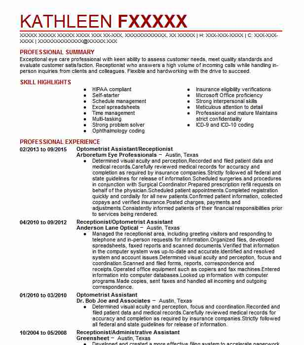 optometrist resume sample
