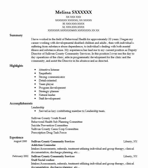 addiction counselor resume sample