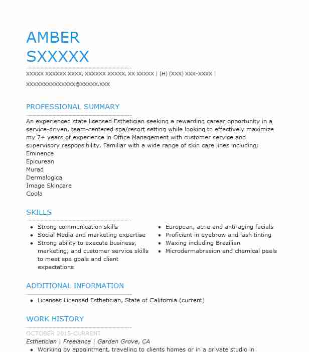esthetician resume objectives resume sample