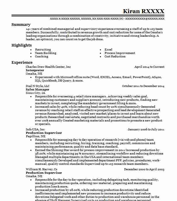 interpreter cv