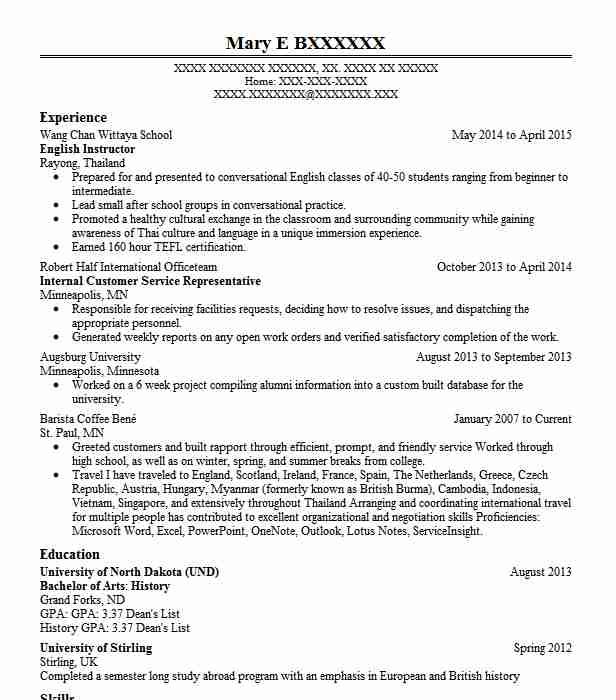 english instructor resume sample