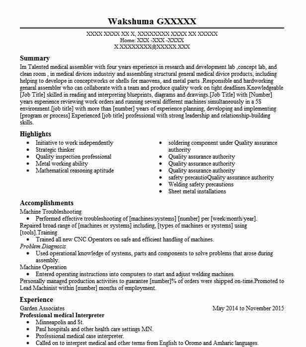 mandarin medical interpreter resume example language