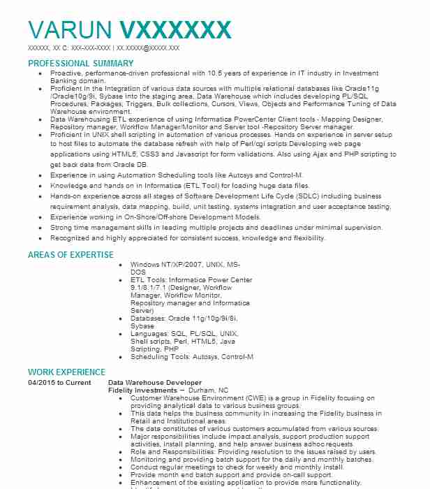 Data Warehouse Developer Resume Sample | LiveCareer