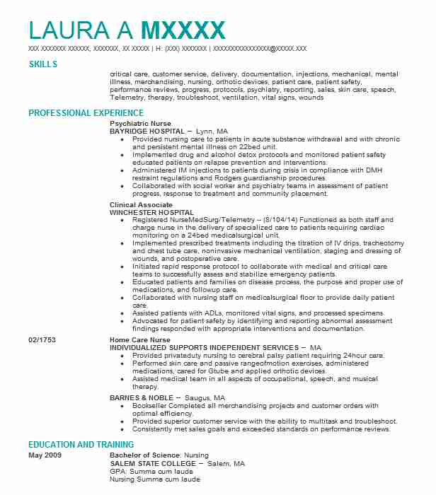 Psychiatric Nurse Resume Sample | Nursing Resumes | LiveCareer