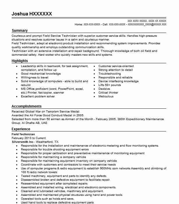 best field technician resume example